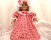 Nightgown, night cap, and pantaloons for 18 inch dolls, .  Red and white gingham with white lace trim.