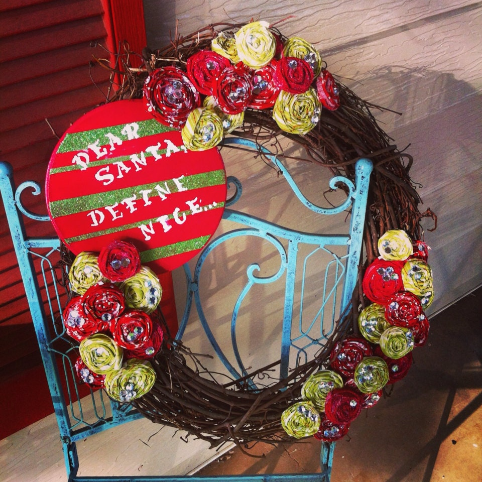 Large Christmas Rosette Wreath with Hand Painted Wood Sign