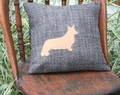 Corgi Dog Silhouette Pillow Cover - Camel, Steel Gray, 14 Inch, Accent Pillow, Throw Pillow