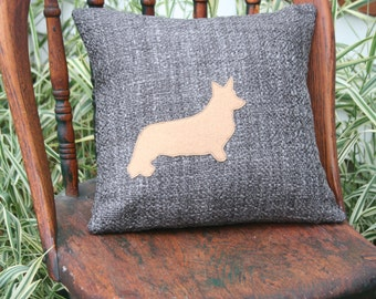 Corgi Pillow Cover - Silhouette, Camel, Steel Gray, 14 Inch - FREE SHIPPING