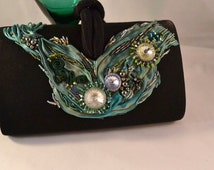 OOAK Evening Purse Shibori Ribbon and Swarovski Crystal Embellished Handbag Bead Embroidered Purse Womens Birthday Gifts Upcycled Purse