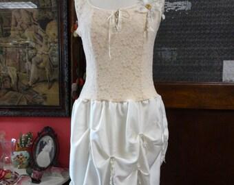 Cream Silk Dress,Bohemian Dress,Funky Dress, Upcycled Dress,Special Occasion Dress,Victorian Dress, Romantic Dress