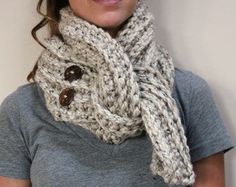 Crochet Long Chunky Scarf OATMEAL Acrylic and Lamb's Wool, Buttons, Winter Accessories, Gift for Her, Sister in Law, Daughter, Grandma, Aunt