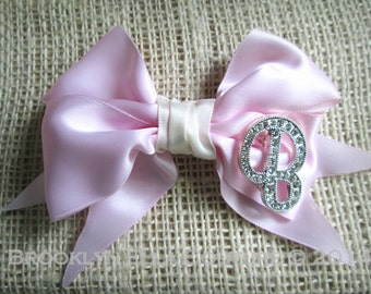 "Classic ""Samantha"" Bow with Rhinestone Initial Baby Newborn Child Photoshoot First Birthday Shower Gift"