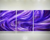 art painting on metal Long contemporary wall decor sculpture purple music artwork abstract modern shiny hand made original by Lubo  luboart