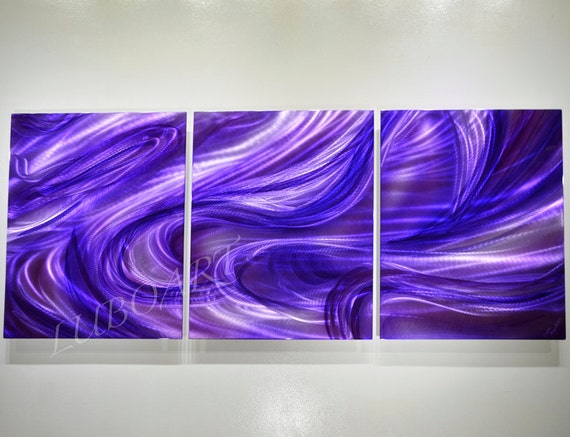 Long Metal Wall Decor : Art painting on metal long contemporary wall decor by luboart