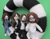OOAK Large Crochet Beatles at Abbey Road Wreath