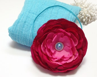 Aqua Cheesecloth Baby Wrap with Rose Headband for Newborn Baby Girl Portrait Prop Photography Prop Baby Shower Gift
