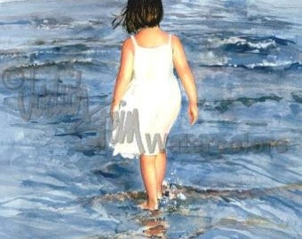 "Beach Girl in White Dress & Bow on Seashore, Water Reflections, Children Watercolor Painting Print, Wall Art, Home Decor, ""Ready to Wade"""