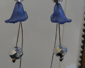Small Dusty Blue Lilly Flower Earrings Accented with Fabulous Sparkly Silver Crystal Stems