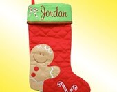 Christmas Stocking - Personalized and Embroidered - Gingerbread Man Applique - Supplies are limited . . . Order Quickly!
