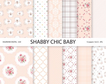 Baby Shabby Chic Digital paper pack in pink, Baby Digital Papers, Baby Girl, digital backgrounds, INSTANT DOWNLOAD Pack 630