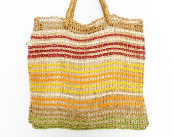 Large Vintage Woven Macrame Tote Bag 1970s