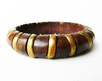 Vintage Brass and Wood Bangle Bracelet