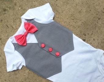 Custom Tuxedo BodySuit Grey Vest with Coral bowtie on Body suit - Perfect Baby Boy Wedding Outfit