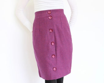 60s Mod Wool Skirt, Purple & Pink Houndstooth Wiggle Fit High Waist yoke oversized buttons bright color office button front pencil skirt