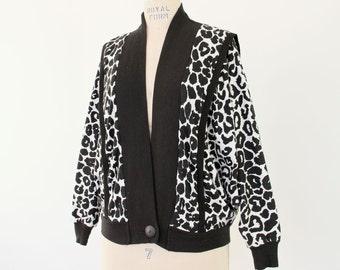 80s Leopard Print Cardigan, New Wave Punk Rock Jersey Top black & white snow leopard avant garde animal hipster blouson dolman sleeve jacket