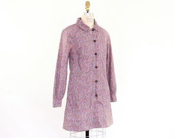60s Mini Dress Boho Hippie Paisley Print Go Go Shirtdress Mod long sleeve scooter girl lavender plum purple cotton micro mini Summer frock