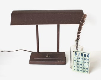 Vintage Brown Metal Desk Lamp, Mid Century Task Light