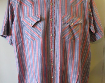 Vintage WESTERN Shirt-by ELY PLAINS-Cowboy- Pearl Snaps- Men's Large L W1