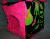 "8"" Cube Neon Guitars/Skulls on Neon Pink Fleece for Ferrets or Rats"