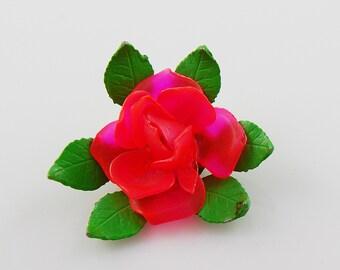 Vintage Bright Pink Flower Brooch