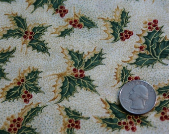 "3 1/8 Yards 44""  Wide Cotton Christmas Holly Print"