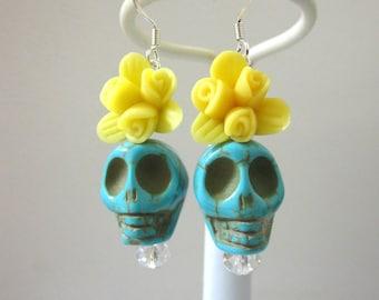 Day Of The Dead Earrings Sugar Skull Dangle Blue Yellow Rose Flower