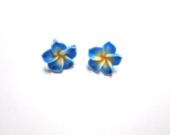 Blue Flower Earrings Floral Hibiscus Post Stud