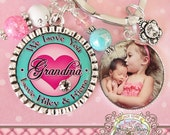 Grandma We Love You Key chain,  Aunt Nana Mimi Key Chain with Photo Side Bezel, Personalized Name, Custom, Photograph, Mother's Day Gift