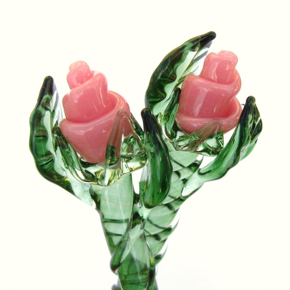 Pink rose glass hair sticks
