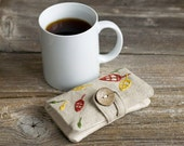 Linen and Cotton Tea Wallet with Hand Embroidered Autumn Leaves, Tea Holder, Gift for Tea Lover