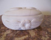 White Stone Box Carved Oval Trinket Jewelry Dish