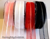 SALE, Sheer Ribbon, Pink, White, Red and Black, 3 YARDS, 7/8 inch wide, Sheer Nylon Ribbon, Special Occasion Ribbon, Hair Bows, CLEARANCE