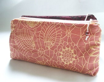 Coral Pink Clutches, Set of 6 Wedding Clutches, Bridesmaids Gift Bags, Bachelorette Party Gifts