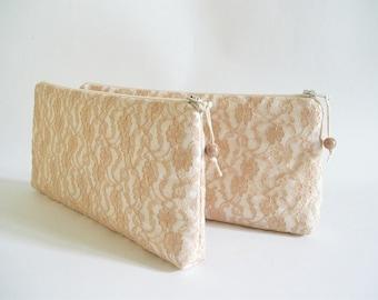 Peach Lace Wedding Clutch, Peach Clutch for Bride or Bridesmaid, Evening Handbag, Fashion Gift for Her