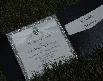 Glitter / Brooch Pocket Wedding Invitation