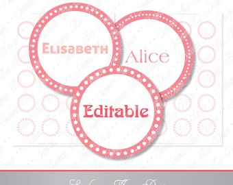 """INSTANT DOWNLOAD - 1.5"""" Circles Editable JPG 102 Pink frame white dots Bottle cap Hairbow party Decoration magnets Avery 8293 aceo pyo diy"""