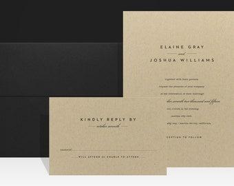 Wedding Invitation Kraft - Modern Simple Minimalist Urban Wedding Invitations - Farm Fall Wedding Invites - Elaine