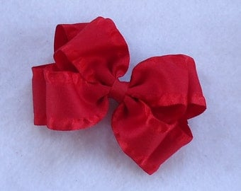 Boutique Hair Bow, Red Double Ruffle Hairbow, Basic Red Hair Bow, Red Boutique Hair Bow, Hair Bows for Weddings/Church/Special Occasions,