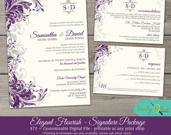 Purple & Gray Flourish Wedding Invitation, Elegant, Sophisticated,  DIY, Printable, RSVP, Swirls, Gray, Sage Green, Signature Package