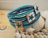 Stars bracelet,stars cuff,blue cuff,blue stars cuff,blue bracelet, leather bracelet,blue leather cuff, blue stars leather,stars jewelry