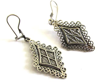 925 Sterling Silver Filigree Ethnic Earrings  - ID1093