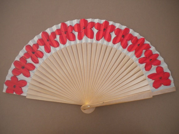 MTO Hand Fan Plain Wood with Red Flowers by Kate Dengra Spain