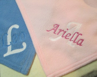 Custom Name Baby Blanket Receiving Blanket Personalized Emroidered Baby Blanket Monogram Fleece Blanket Embroidered Baby Name