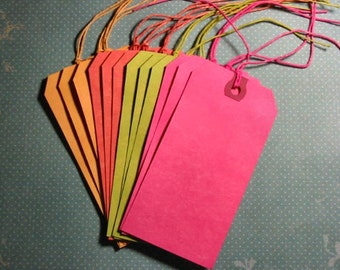 Hand Dyed Tags - Set of 12 - Brights