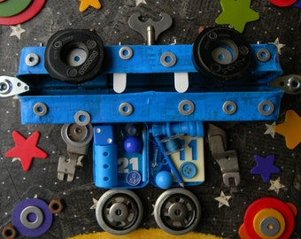 Recycled Art - Mr. Blue - Robot Art - Mixed Media Assemblage by Jen Hardwick - REDUCED
