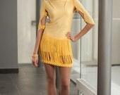 Yellow dress, crochet dress, crochet and jersey combination, unique dress, original design dress