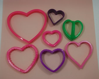 Val011 Vintage Valentine Heart Cookie Cutters Set of 7