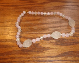 vintage necklace pink glass beads